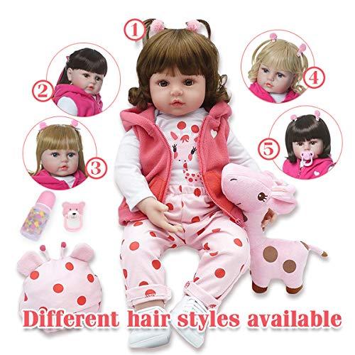 """Terabithia 5 Estilos de Cabello Diferentes Grandes Tamaño Real del bebé 6-9 Meses Princesa 18"""" Reborn Toddler Dolls en Silicona Vinilo Cuerpo de Peluche Suave Recién Nacido Baby Girl Doll Feel Real"""