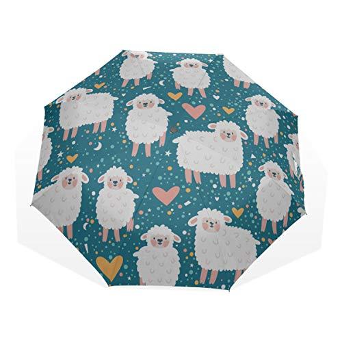 Reiseregenschirm Niedliche Schafe springen über einen Zaun Anti-UV-Kompakt 3-Fach Kunst Leichte Klappschirme (Außendruck) Winddicht Regen Sonnenschutzschirme Für Frauen Mädchen Kinder