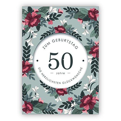 Klassieke verjaardagskaart met decoratieve bloemen voor de 50e verjaardag: 50 jaar voor de verjaardag de meest hartelijke felicitaties • mooie felicitatie cadeaukaart zakelijk & privé 1 Grußkarte groen