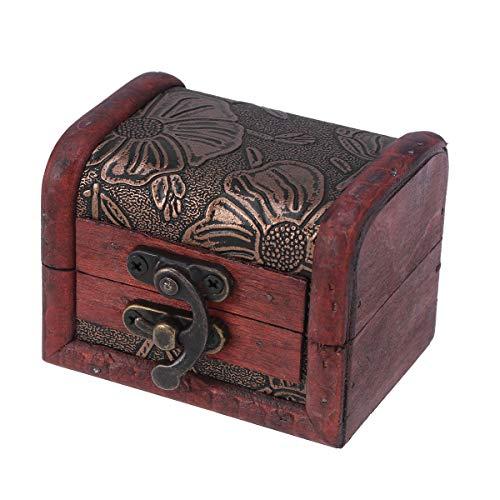 VOSAREA Aufbewahrungsbox für Schmuck, Schatzkiste, aus Holz, Vintage-Stil, Miscelanisch, Organizer, Etui (Lotus)