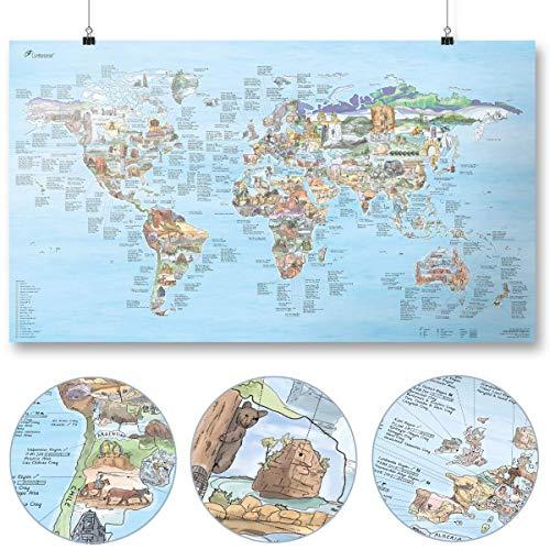 Kletter Weltkarte (Climbing Map) von Awesome Maps - Illustrierte Karte für Kletterfans - Wiederbeschreibbar - 97,5 x 56 cm [International Edition]