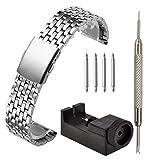 JSDDE Bracelet de Montre en Acier Inoxydable Bracelet en Maille Mince Boucle de Pile 18mm-22MM avec Outil