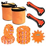SHINESTAR 6-Pack Roadside Safety Discs, LED Road Flares with Safety Hammer, Batteries and Storage Bag included, Flare Kit Emergency for Vehicles, Truck, Car
