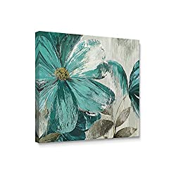 Niwo ART (TM - Teal Flower A, Floral Painting Artwork - Giclee Wall Art for Home Decor,Office or Lobby, Gallery Wrapped, Stretched, Framed Ready to Hang (24x24x3/4)
