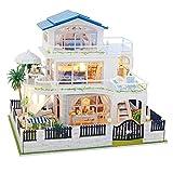 Häuser für Minipuppen/KUSUOUO/DIY Miniatur Loft Puppenhaus mit Led-leuchten Staubschutz...