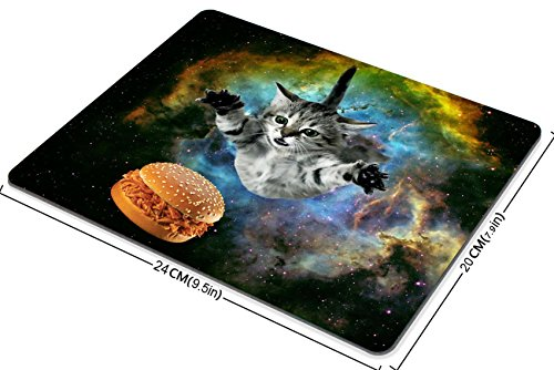 Smooffly Galaxy Space Cat Gaming Mouse Pad Custom,Curious Cat Flying Through Space Reaching for a Hamburger in Galaxy Space Hilarious Mouse Pad Photo #4