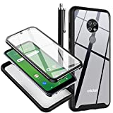 for Cricket Ovation Case, AT&T Radiant Max Case with Built-in Screen Protector Crystal Clear Full Body Shockproof Bumper Rugged Hybrid Protective Phone Cover for Cricket Ovation, Black