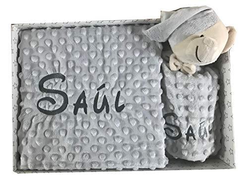 Set de Manta + Dou dou Personalizado con nombre bordado Oso Gris Baby Shower - mibebestore