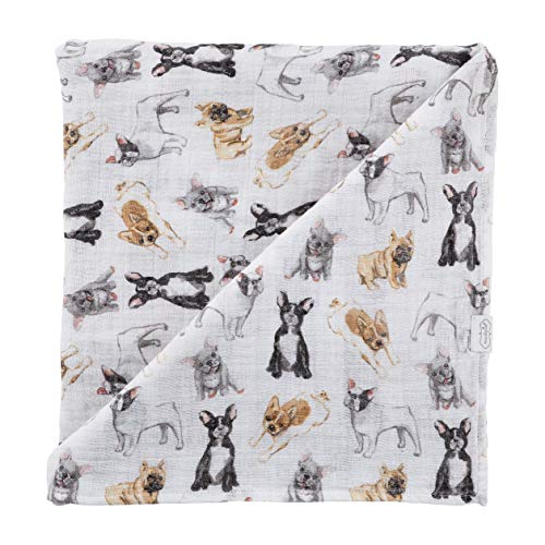 Mud Pie, French Bulldog Print Baby Swaddle Blanket, 47' x 47', Frenchie