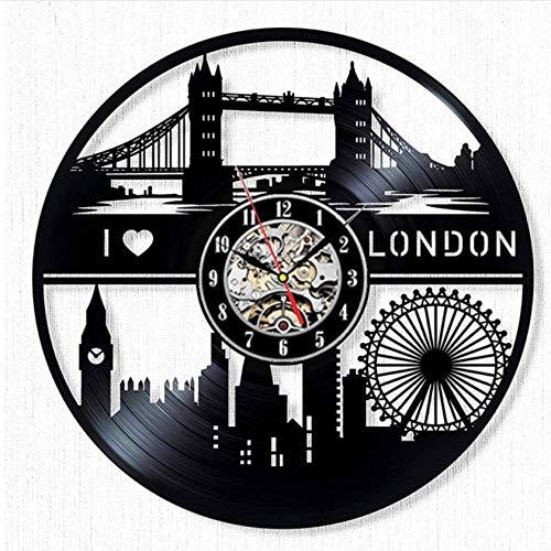 Ioxlks Wanduhr Aus Vinyl London City Vintage Vinyl Wanduhr Modernes Design Scenic 3D Dekoration Ich Liebe London Schallplatte Uhr Wanduhr Wohnkultur 30 cm LO0744