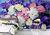 Fotomurales Papel pintado tejido no tejido Flores de peonía de colores Murales moderna Arte de la pared Decoración de Pared decorativos 400x280 cm