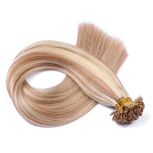 Keratin Bonding - # 12/613 GESTRÄHNT - 40cm - 150 Strähnen - 0,5g - 100% Remy Echthaar Haarverlängerung U-Tip Extention hohe Qualität by NOVON Hair Extensions mit sehr hoher Qualität