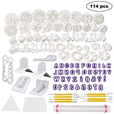 WELWEL Fondant Molds, 114 Cutters and Fondant Decorating Tools Set,Cake Sugarcraft Fondant Tools kit with Rolling Pin,Smoother Embosser Moulds