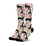 Women's Winter Warm Nice Fuzzy Novelty Thick Bernese Mountain Dog with Florals Cool Socks Cycling Non Skid High Cotton Crew Socks
