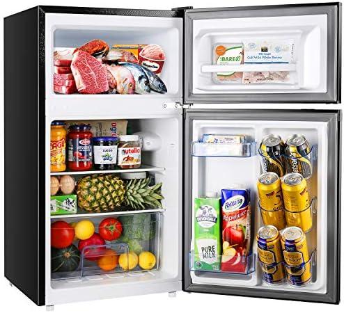 2 Door Mini Fridge with Freezer TECCPO Compact Refrigerator Energy Star 37dB LED Light Reversible product image