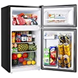 2 Door Mini Fridge with Freezer TECCPO, Compact Refrigerator, Energy Star, 37dB, LED Light, Reversible Door, 7 Adjustable Thermostat Control, for Dorm, Bedroom, Office, Kitchen, Apartment, RV, Black, 3.0 Cu. Ft - TAMF34