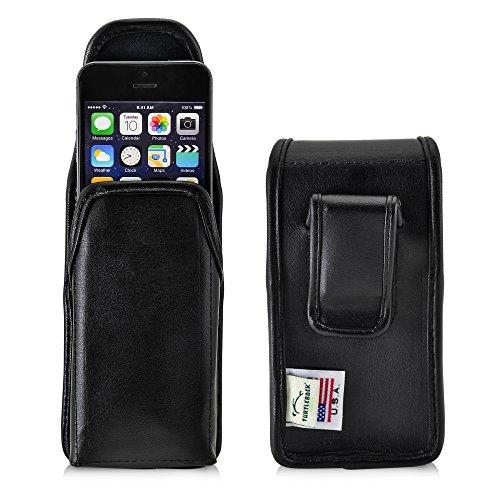 TURTLEBACK Holster for Apple iPhone SE 5 5s 5c Black Belt Case Leather...
