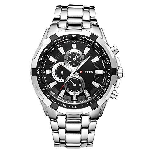 CURREN 8023G Herren-Armbanduhr mit Kalenderanzeige, Quarzuhrwerk, Schwarz