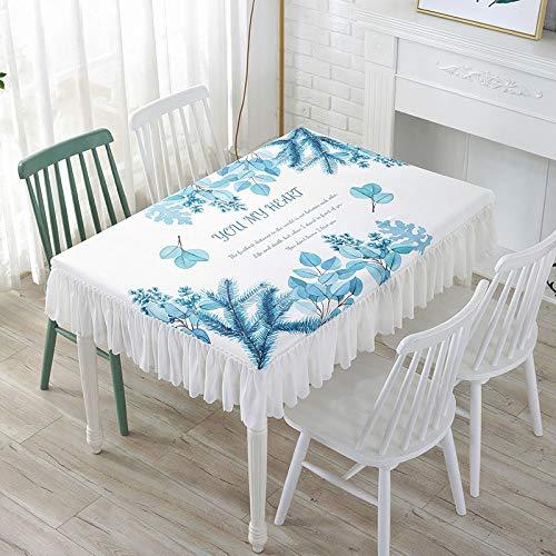 DJUX - Mantel de picnic (120 x 60 x 25 cm, 140 x 80 x 25 cm), diseño de plantas verdes pequeñas y frescas, Planta azul-verde, 100*100*25cm