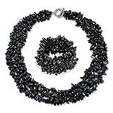 Bling Jewelry Chunky Onice Nera Scaglie di Pietra Dichiarazione Collana Bib per Donne Collare Bracciale Stretch per Donne Impostare