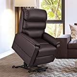 Esright Electric Power Recliner Lift Chair Dual Motor Faux Leather Electric Recliner for Elderly, Heated Vibration Massage Sofa with Side Pockets & Remote Control, Red Brown