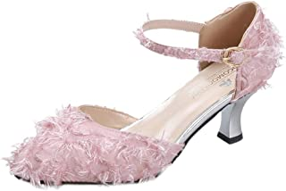 LOVOZO Women's High Heels Dress Party Elegant Pump Sandals Ankle Belt Buckle Sandals