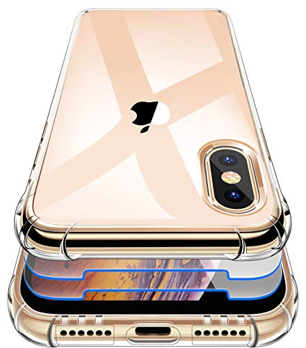 Garegce Cover Compatibile con iPhone XS Max con 2 Pezzi Vetro Temperato Silicone TPU Morbido, Antiurto AntiGraffio Protettiva Custodia Compatibile con iPhone XS Max - 6.5 Pollici - Trasparente