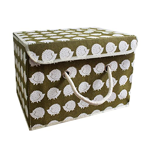 Aufbewahrungsbox Kinder, Aufbewahrungskiste mit Deckel Spielzeug Organizer, Faltbar Aufbewahrungskorb für Kleidung, Faltbox Spielzeugkiste Vorratsbehälter aus Baumwollgewebe (Igel) 38 * 25 * 25cm