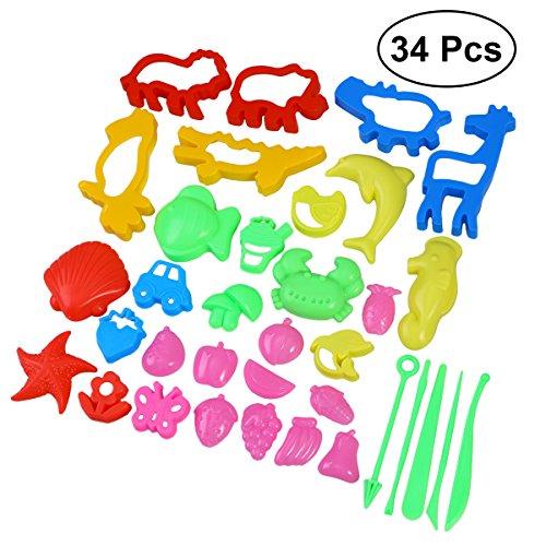 YeahiBaby Herramientas de moldeo de masa de arcilla DIY 34pcs Molde de arena de las artesanías Juguetes de plastilina para niños