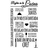 Enkolor/Vinilo Cocina/Pegatinas de Pared, Muebles, Azulejos, Nevera./Adhesivos con Frases de Normas/Negro/60X100cm. Extensión Garantía - Servicio Vinilo Repara Incluido
