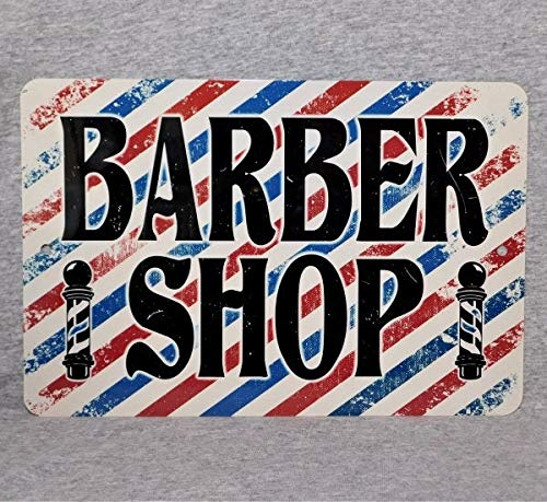 Unkown Metal Sign BARBER SHOP kapperszaak paal haar stylist cut stoel kapper strepen aluminium 8