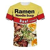 Keasmto 3D Ramen Chicken Noodle Soup Shirt Beef T Shirts for Men Women Cotton Cute Tag XL