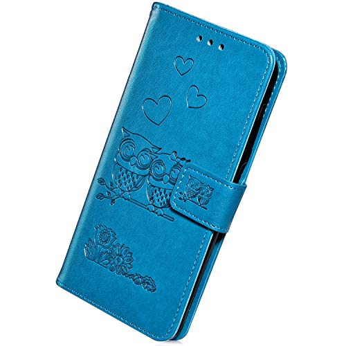 Herbests Compatible with Samsung Galaxy J4 Plus 2018 Leather Flip Wallet Case Retro Vintage Owl Love Heart Floral Pattern Protective Phone Case Credit Cards Slots Kickstand Magnetic,Blue