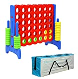 UNICOO - Giant 4 in a Row Game with Carry Bag, Jumbo 4-to-Score Giant Game Set, Adult and Family Fun Game, 4 Feet Tall Premium Plastic- Red + Blue