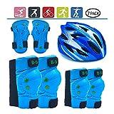 LEENY Niños Equipo de Protección Casco Rodilleras Coderas Rodilla Almohadillas Codo Muñeca Protector - 7 Pcs/Set Protección Deportiva Accesorios para BMX Scooter Rodillo Patinaje,Azul,S