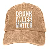Dyfcnaiehrgrf Drunk Wives Matter - Gorra de béisbol unisex transpirable para actividades al aire libre, sombrero para mujer, color negro natural