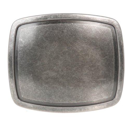 Western Plain Rectangular Hammered Vintage Belt Buckle Color: Antic Silver