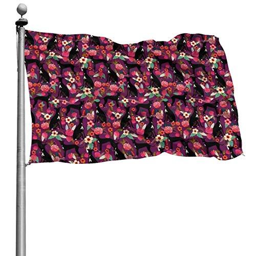 YRNAVEI Italian Greyhound Florals DogsAmerican US Flag 4x6 Foot Polyester