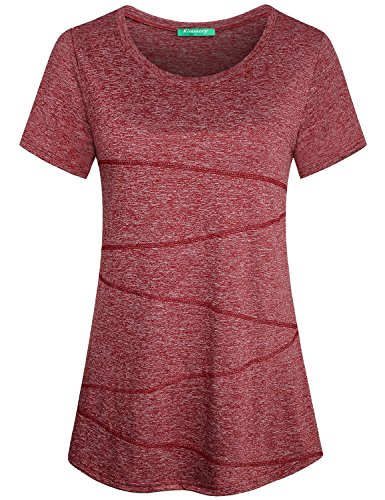 Kimmery Activewear Tops for Women Ladies Fitness Yoga Shirts Breathable Tops Soft Dressy Athletic Wear Cute Crew Neck Primary Comfy Running Gym Sports Clothes Purplish Red XXL