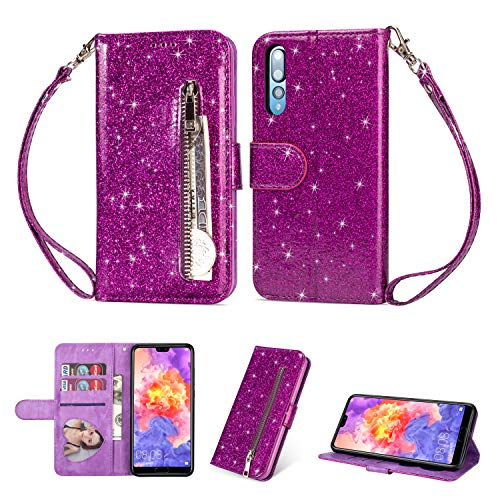 Ostop Glitzer Lila Hülle für Huawei P20,Bling Slim Reißverschluss Brieftasche Leder Handyhülle mit Kartenfach,Klappbar Stand Magnetisch Flip Stoßfest Schutzhülle für Huawei P20