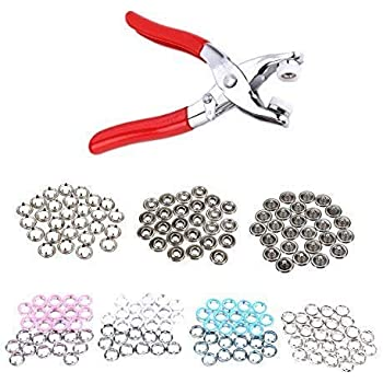 100//120pcs Prong Pliers Ring Press Studs Snap Popper Fasteners for Bag Kids Wear