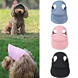 Pack of 3 Dog Baseball Caps Pet Visor Hats for Outdoor Sports - Dog Hat with Ear Holes Cute Pet Caps Dog Mesh Porous Pet Hats in Pink, Grey and Black with Adjustable Strap Suitable for Small Dogs