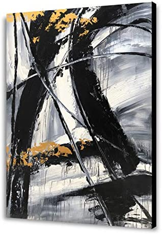 Yihui Arts Easy Painting Black and White Abstract Contemporary Painting Large Wall Art Canvas product image