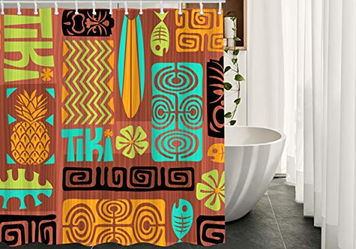 Migant Vintage Shower Curtains Decor Retro Tiki Fish Flower...