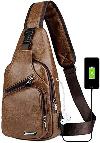 Messenger Bag Inclined Shoulder Bag Satchel Single Shoulder Bag USB Charging Chest Bag Casual Fashion Shoulder Bag PU Men'S Chest Bag-Black-D