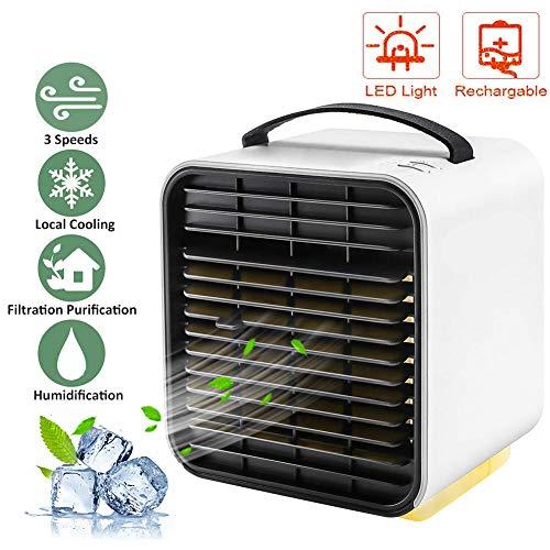 swonuk Mobile Klimageräte, Mini Luftkühler 4 in 1 Air Cooler Klimagerät Luftreiniger, 3 Leistungsstufen Mini Persönliche Klimaanlage für Büro, Heim und Outdoor Reisen