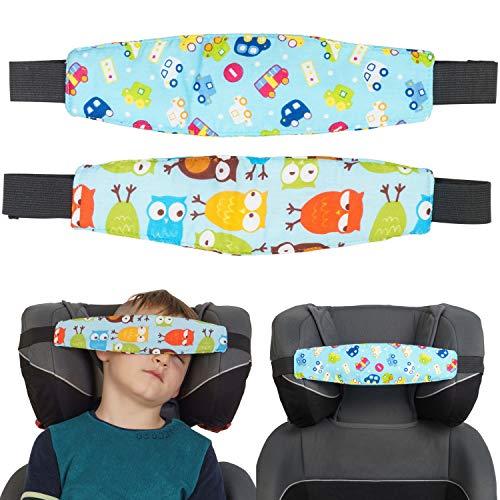 Kindersitz Kopfhalter, blaues Design für Jungen, 2 Pack, Einstellbare Laufställe, Schlaf Stellungsregler für Kindersitz, Kinderwagen, Kopf Halter für Autofahrt, Autositz Befestigung Schlafen, Kopfband
