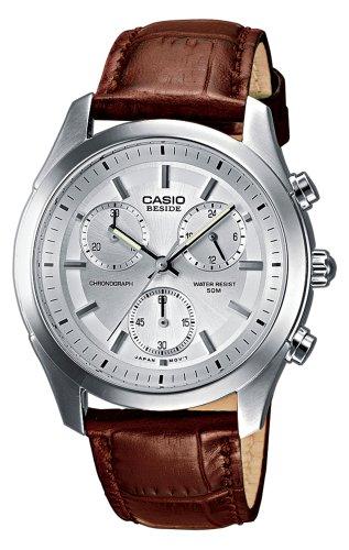 Casio BEM-503L-7AVEF - Reloj cronógrafo de caballero de cuarzo con correa de piel marrón (cronómetro) - sumergible a 50 metros