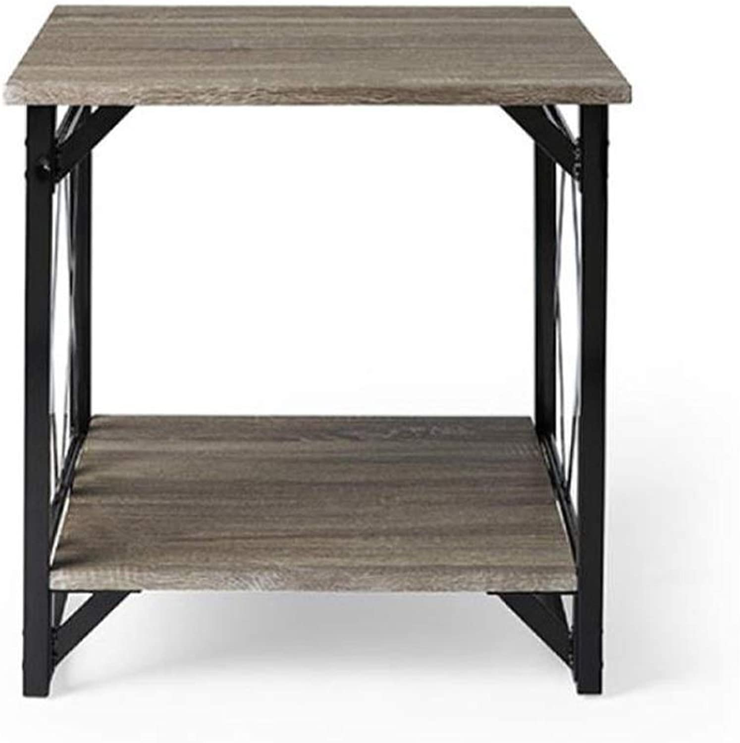 L-Life End Tables Side Table Coffee Table End Table, Natural Oak Wood Legs Living Room Sofa Table Wrought Iron Retro (Size   40CM)