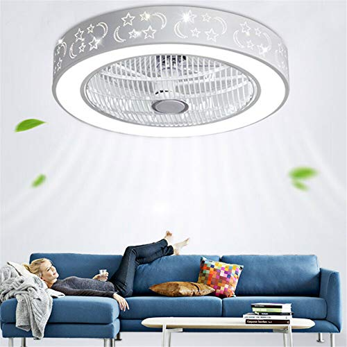 Kaibrite Ventilador de techo de 55 cm con iluminación y mando a distancia, lámpara de techo LED, 3 velocidades de viento, regulable, silencioso.